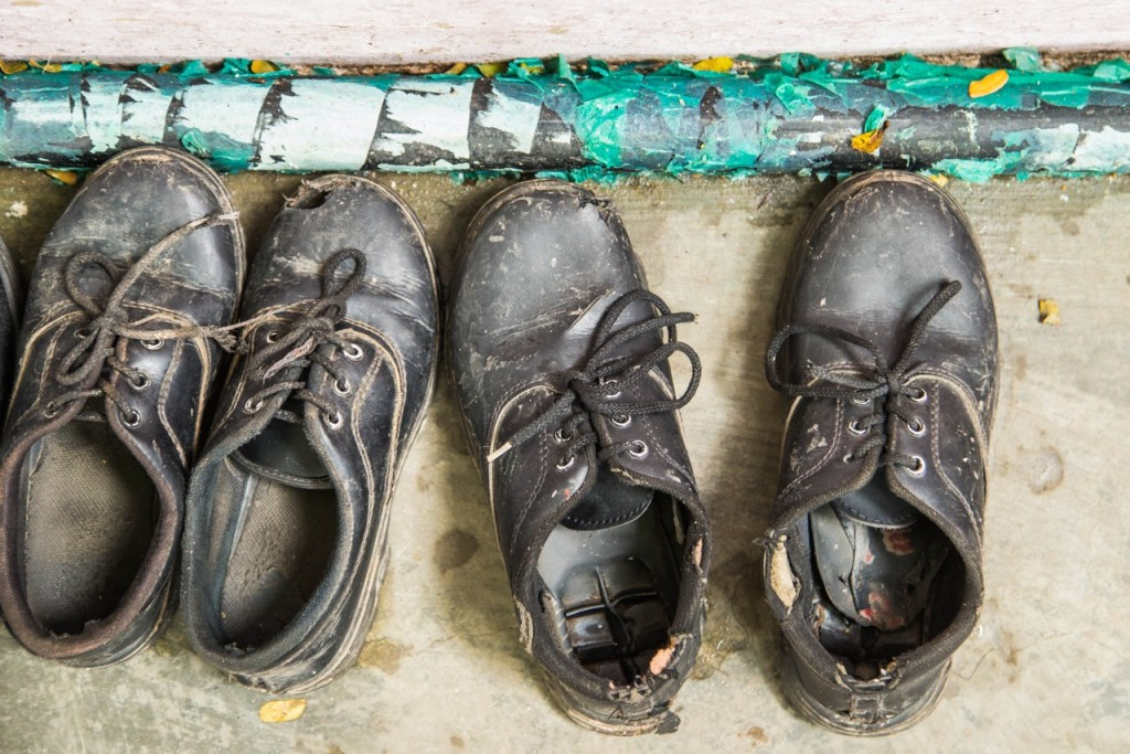 Students' shoes at GSS in Hyderabad, India